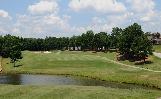 View of a pond on the course at Oak Mountain Golf Club
