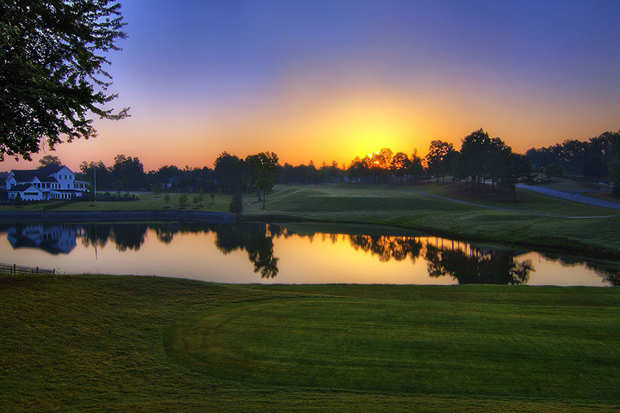 View of a sunset on the course at Oak Mountain Golf Club